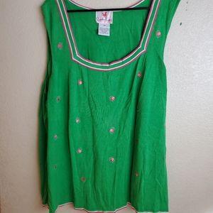 Quacker Factory Green Ladybugs Sleeveless Knit Top